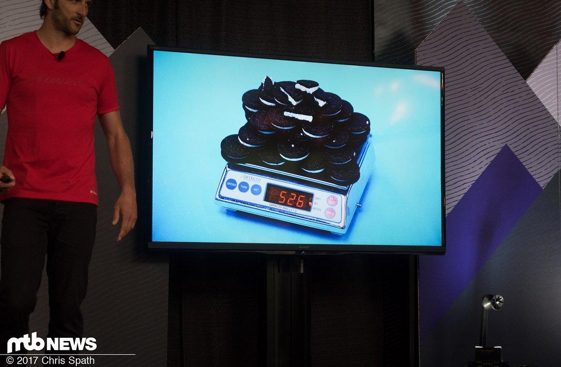 Visualisierung ist alles – soviele Oreos kann man in mit dem neuen Epic vor der Fahrt essen, ohne ein höheres Systemgewicht zu bekommen.