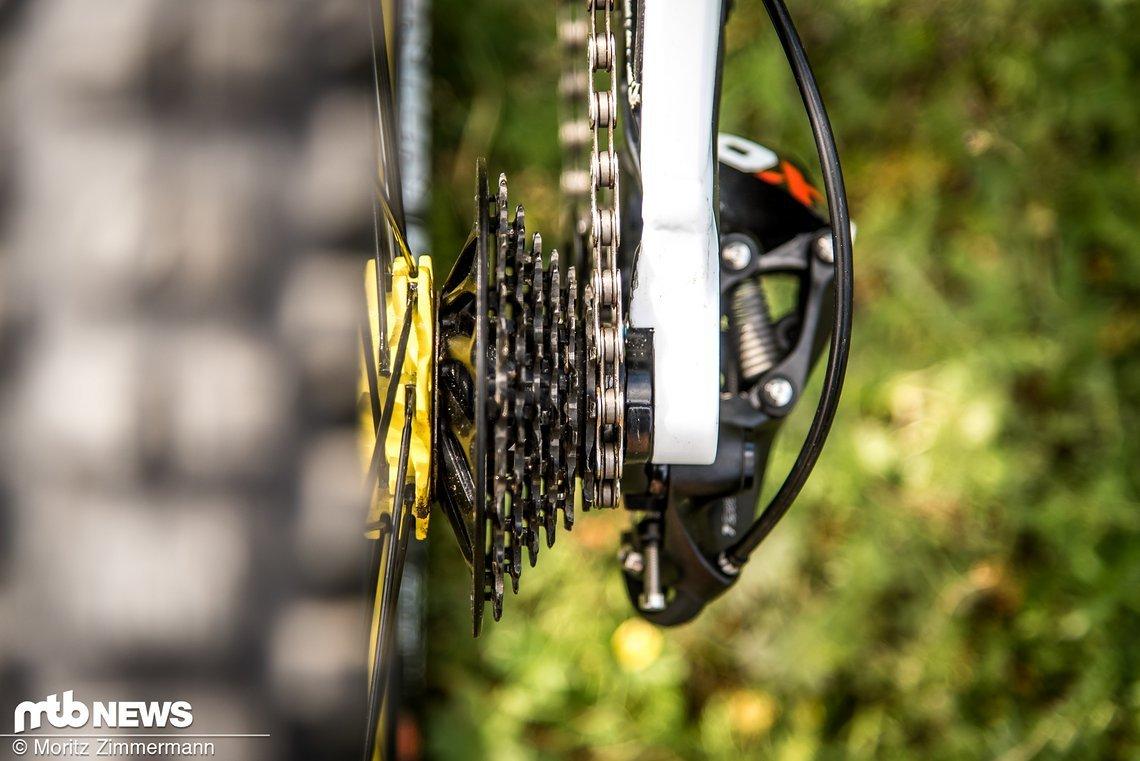 Die SRAM X01 DH-Kassette mit 7 Gängen ist mittlerweile an den meisten Weltcup-Bikes zu finden.