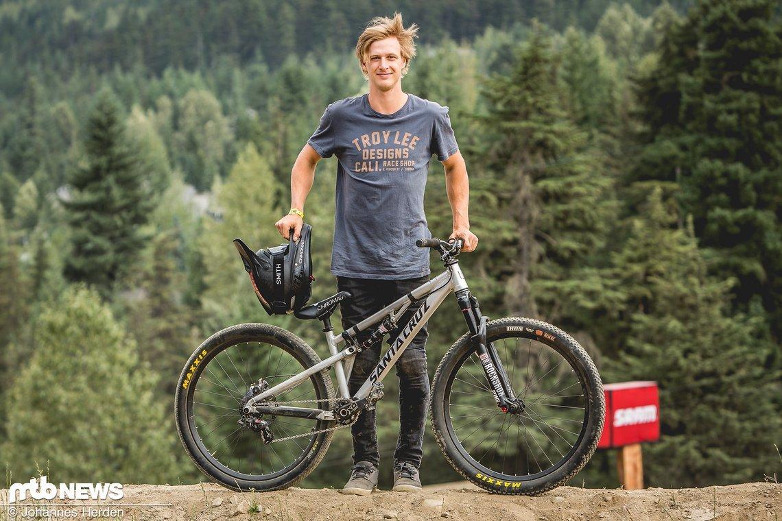 Auch Logan Peat verwendet für die großen Sprünge in Whistler ein Fully
